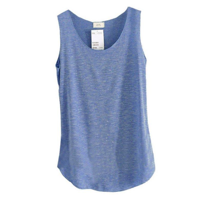 [해외]Womens U-Neck Beach Vest 여름 느슨한 대나무면 T- 셔츠 탑스 티/Womens U-Neck Beach Vest Summer Loose Bamboo Cotton Tank T-Shirt Tops Tee