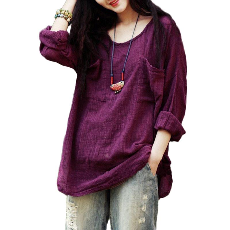 [해외]5XL 플러스 사이즈 코튼 린넨 티셔츠 여성 한국 여성 긴 Retail 루스 캐쥬얼 티 셔츠 Femme 민족 빈티지 가을 셔츠 탑/5XL Plus Size Cotton Linen T-shirt Female Korean Women Long Sleeve  Loose