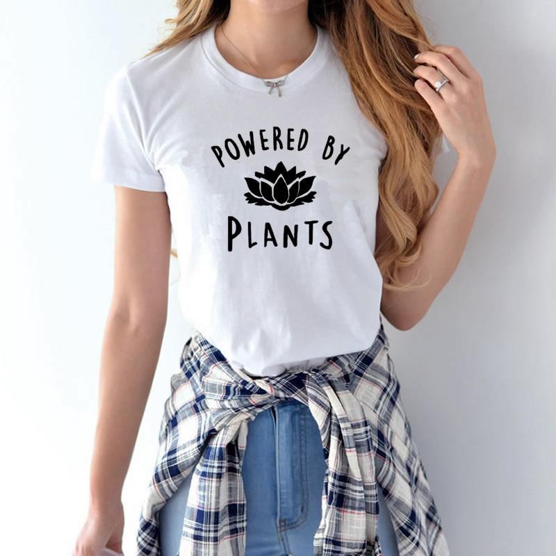 [해외]2018 채식주의 자 채식주의 자에 의해 강화 된 여성을패션 T 셔츠 하라주쿠 Tumblr 귀여운 Tumblr Femme 재미 있은 여성 T 셔츠상의/2018 Vegetarian Vegan POWERED BY PLANTS Fashion T Shirt for Wo