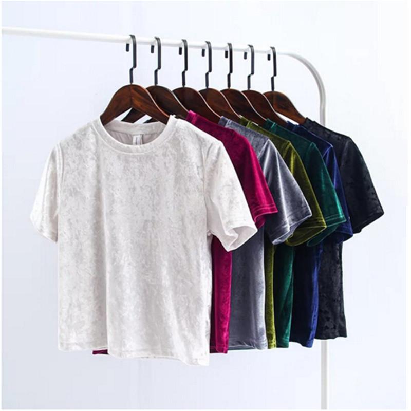 [해외]2018 여름 벨벳 자르기 탑 여성 티셔츠 패션 뒤로 슬릿 반팔 티셔츠 여성 캐주얼 벨벳 탑 티셔츠/2018 Summer Velvet Crop Tops Women T Shirt Fashion Back Slit Short Sleeve T-shirt Ladies C