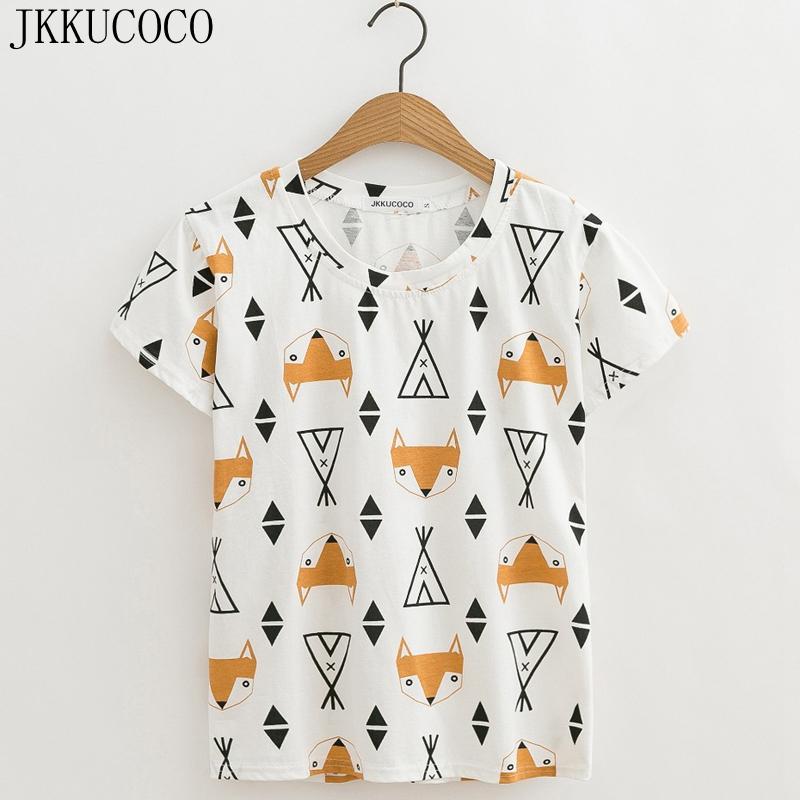[해외]JKKUCOCO 최신 스타일 여성 탑 만화 폭스 프린트 티셔츠 반Retail 티셔츠 캐주얼 티셔츠 여성 티셔츠 여름 티셔츠 XS-XL/JKKUCOCO Newest style Women tops Cartoon Fox Print t-shirt short sleeve