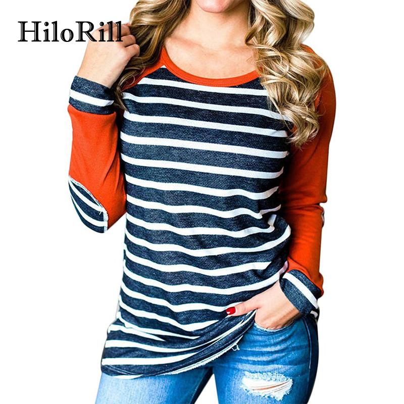 [해외]HiloRill 야구 긴 Retail Tshirt 여성 패션 줄무늬 패치 워크 탑 티 셔츠 Femme 캐주얼 팔꿈치 패치 T- 셔츠 풀 오버 3XL/HiloRill Baseball Long Sleeve Tshirt Women Fashion Striped Patc