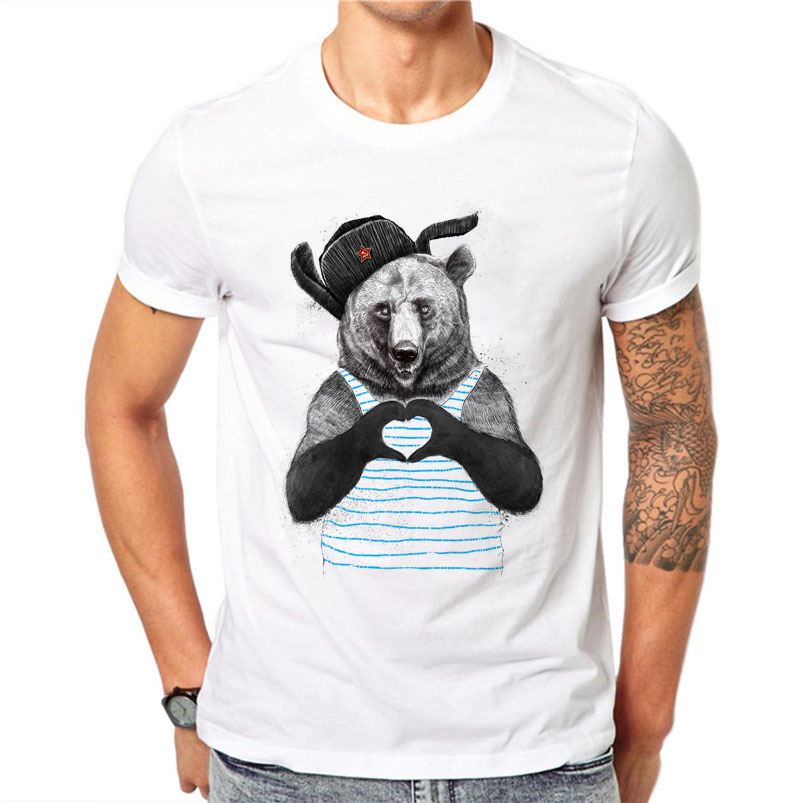 [해외]100 % 코튼 남성 귀여운 T 셔츠 만화 하트 패턴 베어 동물 프린트 티 탑스 반Retail 재미 하라주쿠 티셔츠 플러스 사이즈/100% Cotton Men Cute T Shirt Cartoon Heart Pattern Bear Animal Print Tee