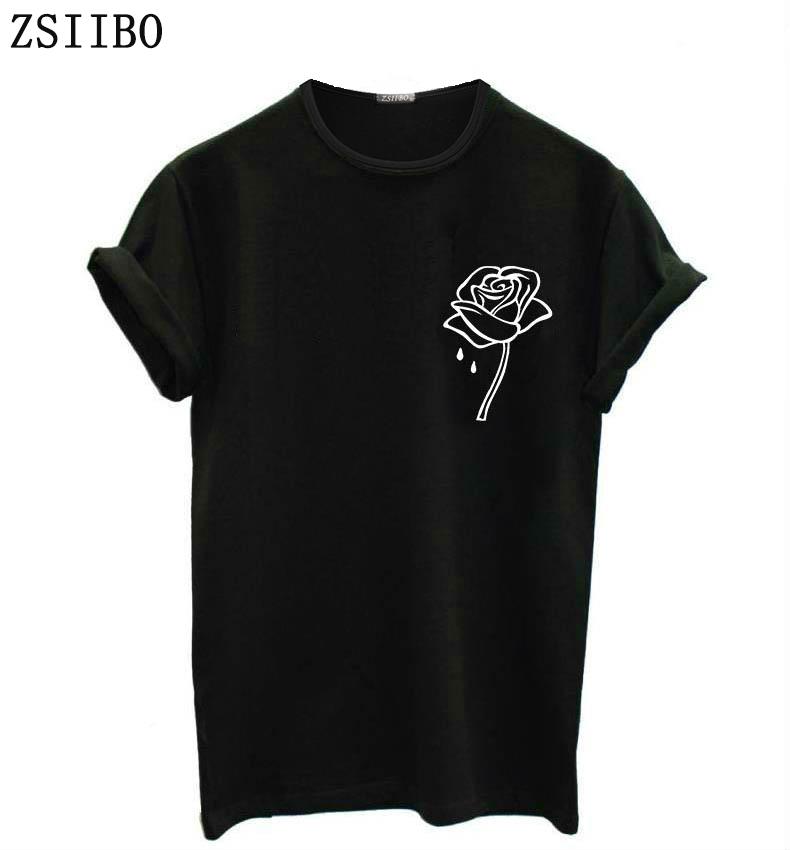 [해외]ZSIIBO 장미 꽃 주머니 인쇄 여성 tshirt 캐주얼 Funny t 셔츠 For Lady Top Tee Hipster Tumblr BTS/ZSIIBO rose flower pocket Print Women tshirt Casual Funny t shirt