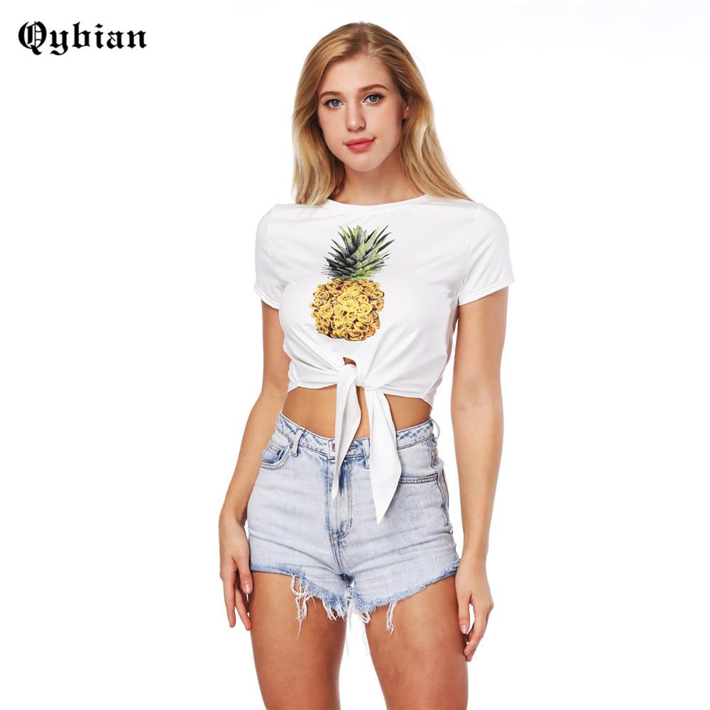 [해외]Qybian 새 여성 Tshirt 2018 스타일 파인애플 인쇄 재미 있은 짧은 티셔츠 레이디 화이트 탑 티즈 Hipster 여성 슬림 작물 상단/Qybian New Women Tshirt 2018 Style pineapple Print Funny Short T