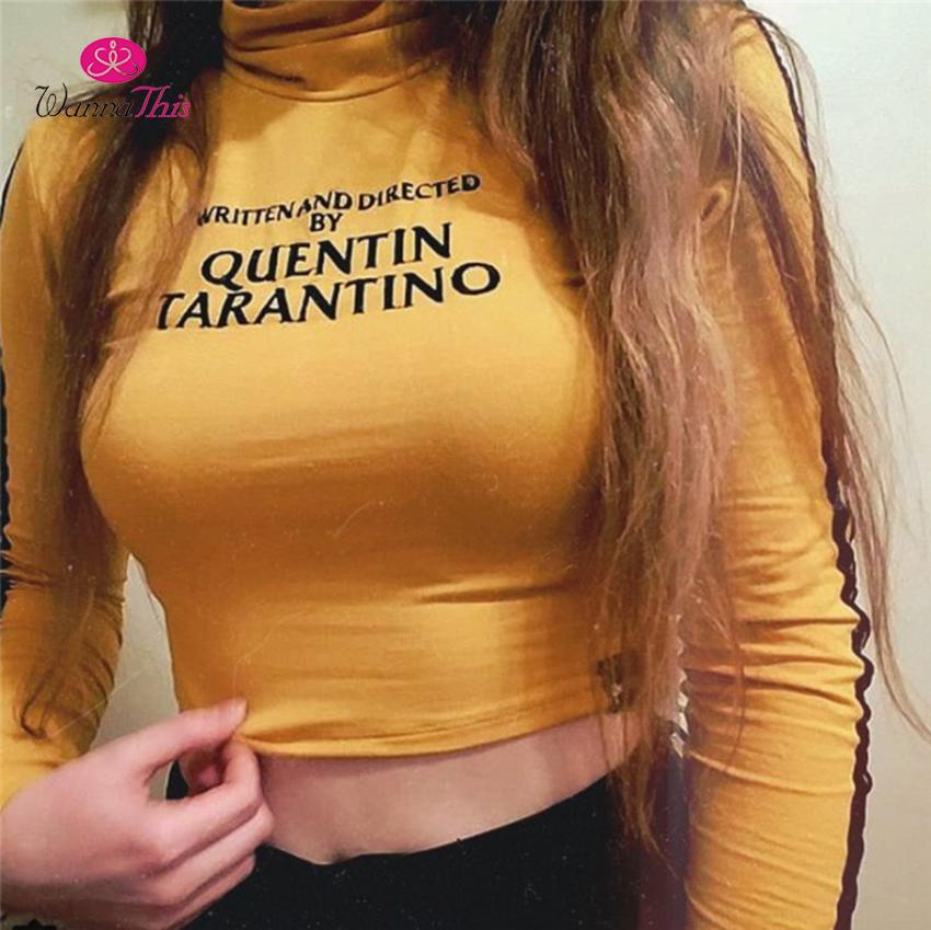[해외]WannaThis QUENTIN TARANTINO 작물 탑 여성 긴 Retail 옆 줄무늬 터틀넥 스키니 짧은 t- 셔츠 2018 섹시 코튼 짧은 티셔츠/WannaThis QUENTIN TARANTINO Crop Tops Women Long Sleeve Side