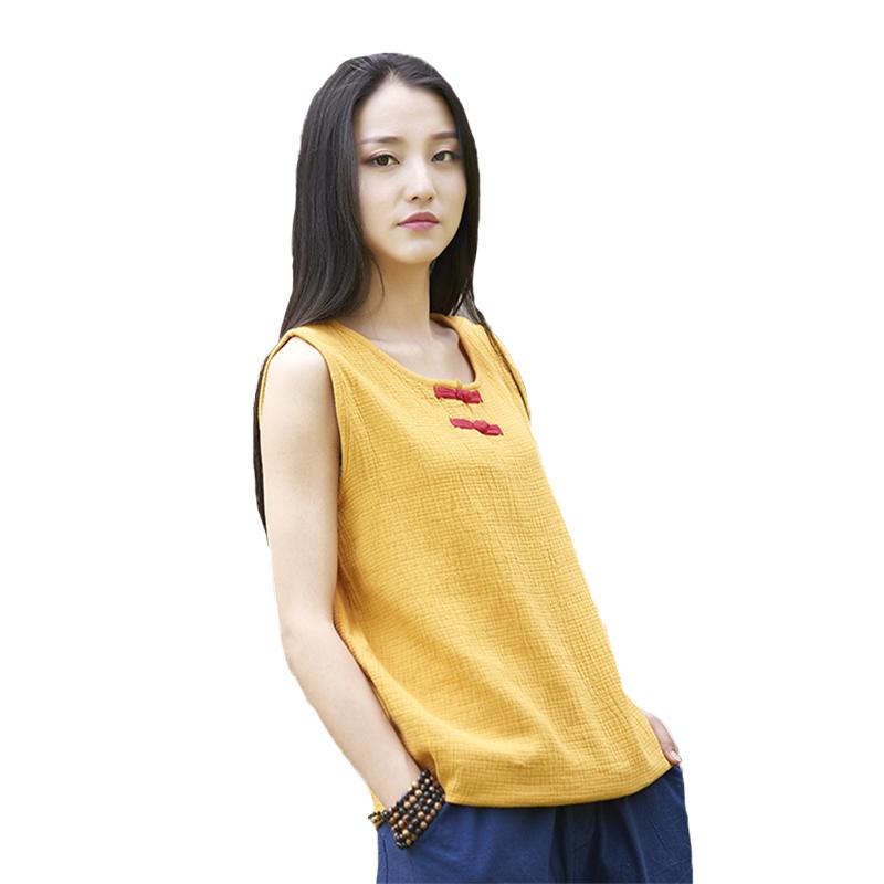 [해외]Johnature Women 코튼 린넨 티셔츠 민Retail O-Neck 2018 Summer New Vintage Button 6 색 캐주얼 여성 티셔츠/Johnature Women Cotton Linen T-Shirts Sleeveless O-Neck 201