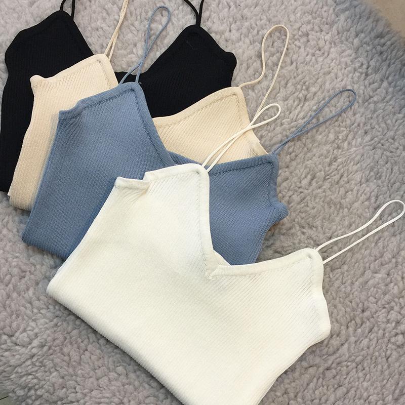 [해외]?새로운 2016 년 여름 여성 섹시한 V 넥 스파게티 스트랩 니트 카디 여성용 / 캐주얼 니트 캐미솔 탑스/ New 2016 Summer Women Sexy V-neck Spaghetti Strap Knit Camis Ladies& Brief Casual Kn