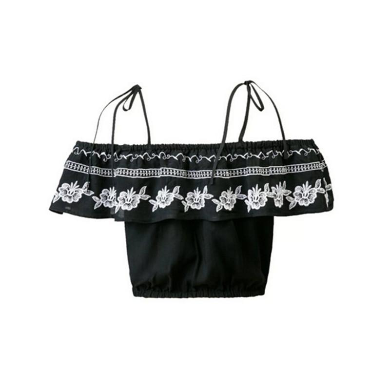 [해외]Sexy off Shoulder Ruffles 엘라스틱 슬래시 넥 캐미스 2016 New Women Embroidery Tee 짧은 T 셔츠 자르기 톱 블랙 컬러/Sexy off Shoulder Ruffles Elastic Slash Neck Camis 2016