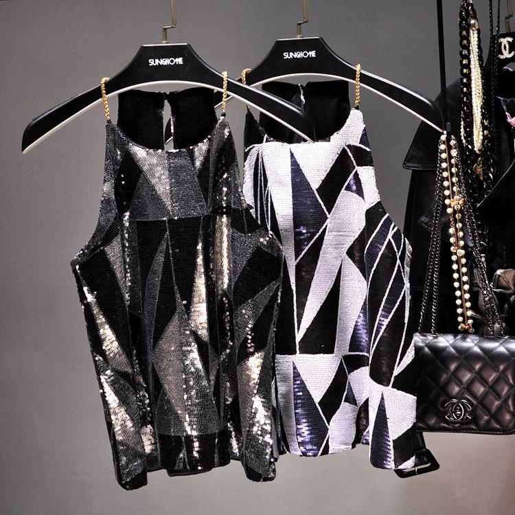 [해외]2017 여성 스팽글 Camis 탱크 반짝 이는 조끼 Bling 체인 Spaghatti Geometric Party Tops 플래시 스파클 섹시한 캐미솔 조끼/2017Women Sequin Camis Tank Shiny Vest Bling Chain Spagha