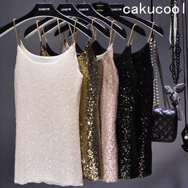 [해외]Cakucool 2017 여성 Lurex 스팽글 Camis 탱크 탑 Shiny Vest Tops 체인 스파게티 캐미솔 Beaded Slim Girls 섹시 조끼/Cakucool 2017Women Lurex Sequined Camis Tank Top Shiny V