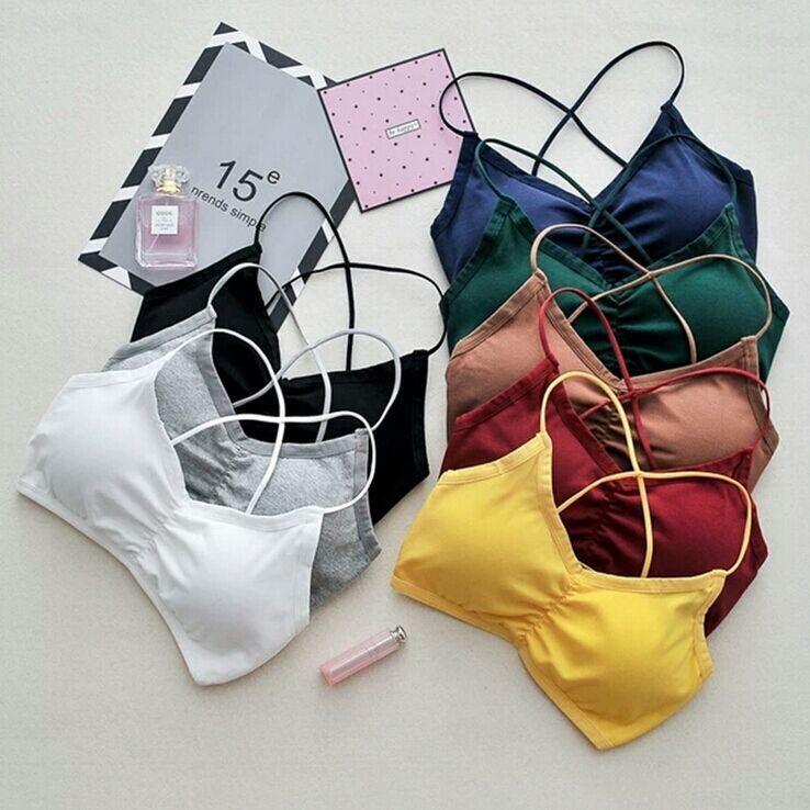 [해외]여성 자르기 탑스 캐미솔 카미 솔리드 컬러 Bretette Underwear Strappy 패딩 브래지어 탑 코튼 조끼 탱크 탑/Women Crop Tops Camisole Camis Solid Colors Bralette Underwear Strappy Pad