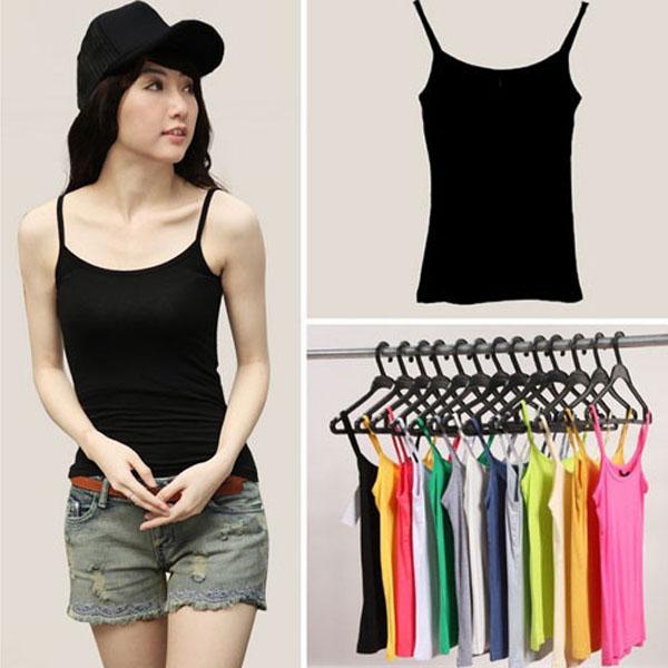 [해외]여성 캐미솔 탑스 캔디 컬러 민Retail 슬림 캐주얼 하네스 캐미솔 조끼 스파게티 스트랩 탱크 탑스 프리 사이즈 Q678/Women&s Basic Camis Tops Candy Color Sleeveless Slim Casual Harness Camisole