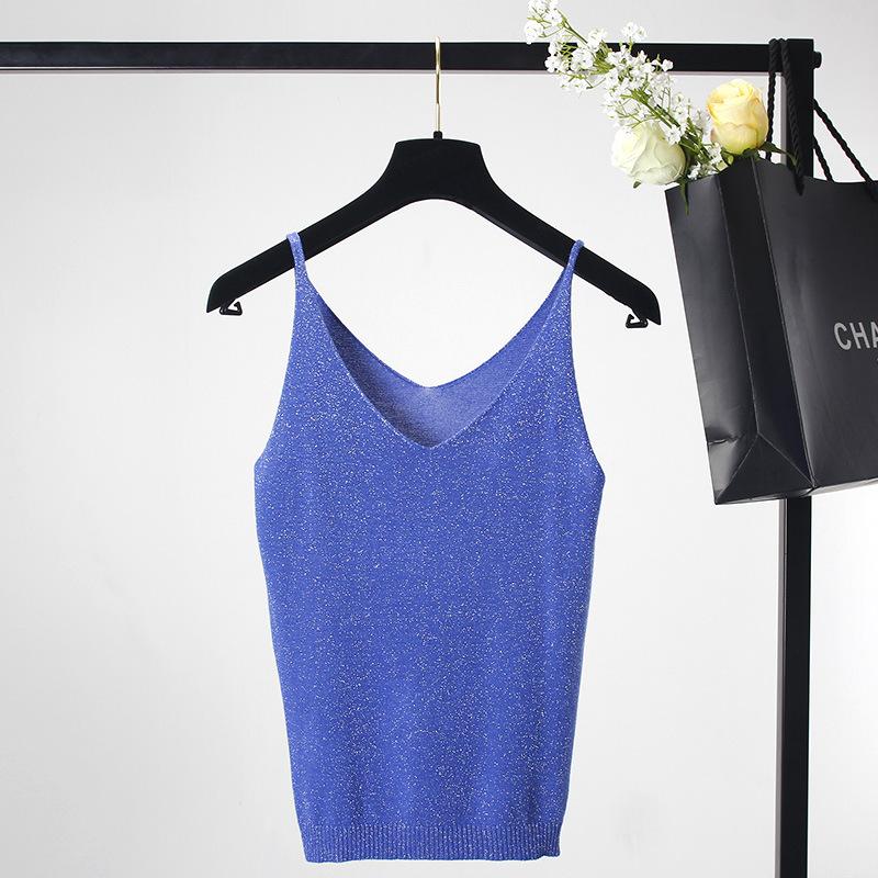 [해외]SRUILEE 여성 여름 아이스크림 캐미솔 브루 져 반짝이는 니트 조끼 스트레치 슬림 섹시한 탱크 탑 10 색 있음 Q06888A/SRUILEE Women Summer Icecream Camisole Bruiser Glittering Knitted Vest St