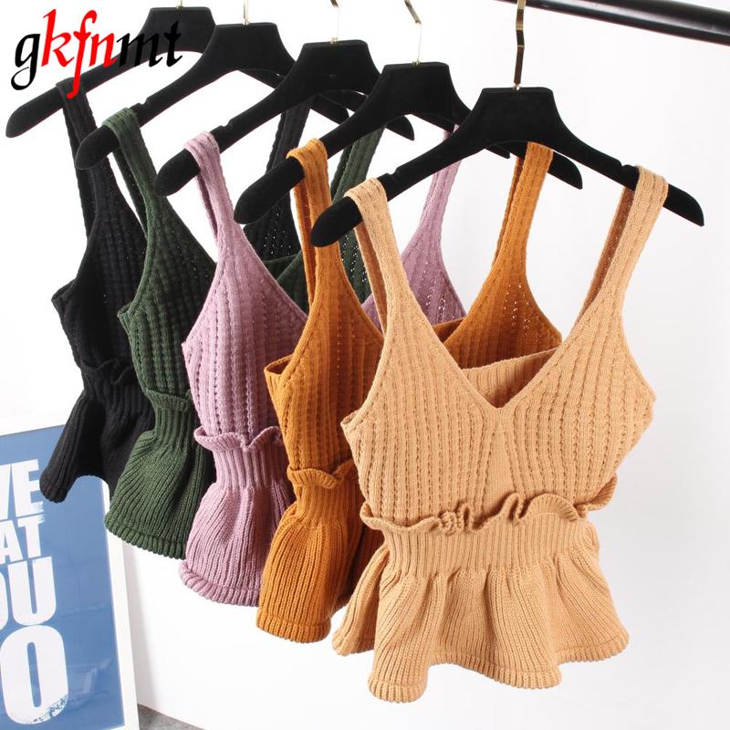 [해외]섹시한 Stretchable 니트 브이 넥 작물 카미 탑스 여름 스타일 2017 보그 일반 여성 섹시한 스파게티 스트랩 캐미솔 탱크 셔츠/Sexy Stretchable Knit V Neck Crop Cami Tops Summer Style 2017 Vogue P