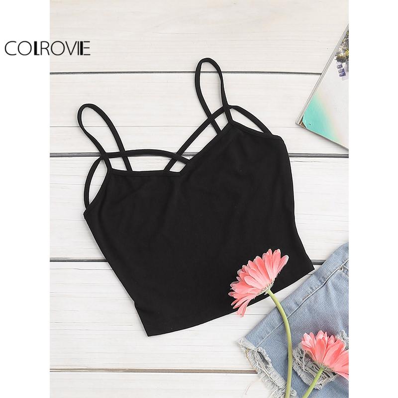 [해외]COLROVIE 블랙 작물 카미 탑 여성 섹시한 크로스 V 넥 짧게 슬림 캐주얼 여름 탑스 2017 패션 컷 아웃 비치 숙녀 캐미솔/COLROVIE Black Crop Cami Top Women Sexy Cross V Neck Brief Slim Casual S