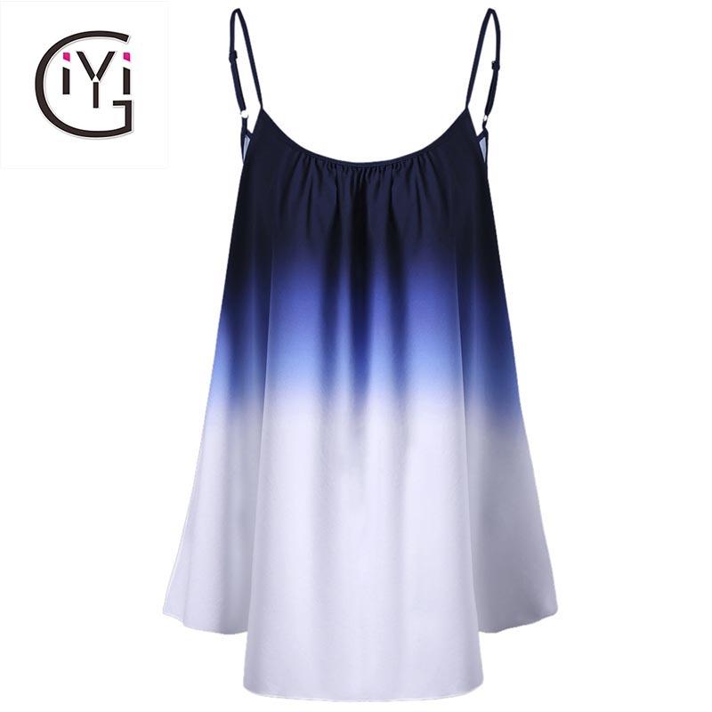 [해외]GIYI 플러스 사이즈 5xl 4xl 여성 의류 Ombre Print Cami 탑 타이 염색 캐미숄 여름 2017 Oversize 민Retail 비치 조끼 Ladies/GIYI Plus Size 5xl 4xl Women Clothing Ombre Print Ca