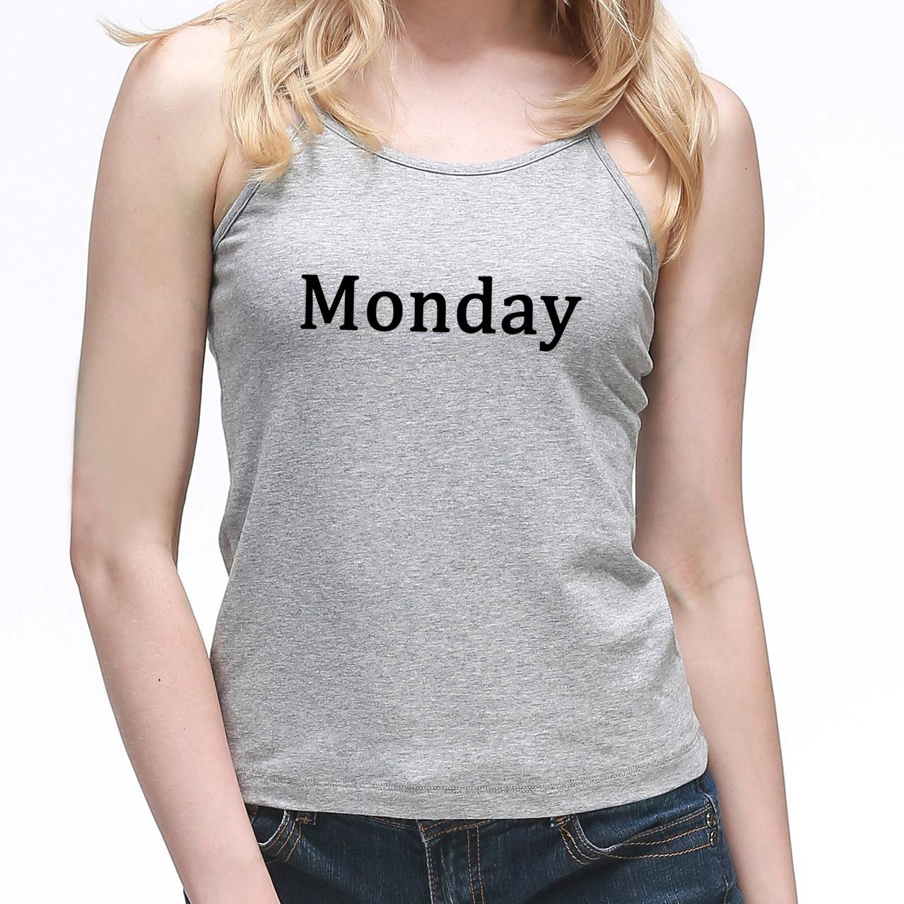 [해외]여성 캐미솔 조끼 월요일 화요일 수요일 목요일 금요일 토요일 일요일 거리 프린트 웃긴 주니어 들아 들린 탑스 소녀 캐미스/Women Camisole Vest Monday Tuesday Wednesday Thursday Friday Saturday Sunday S