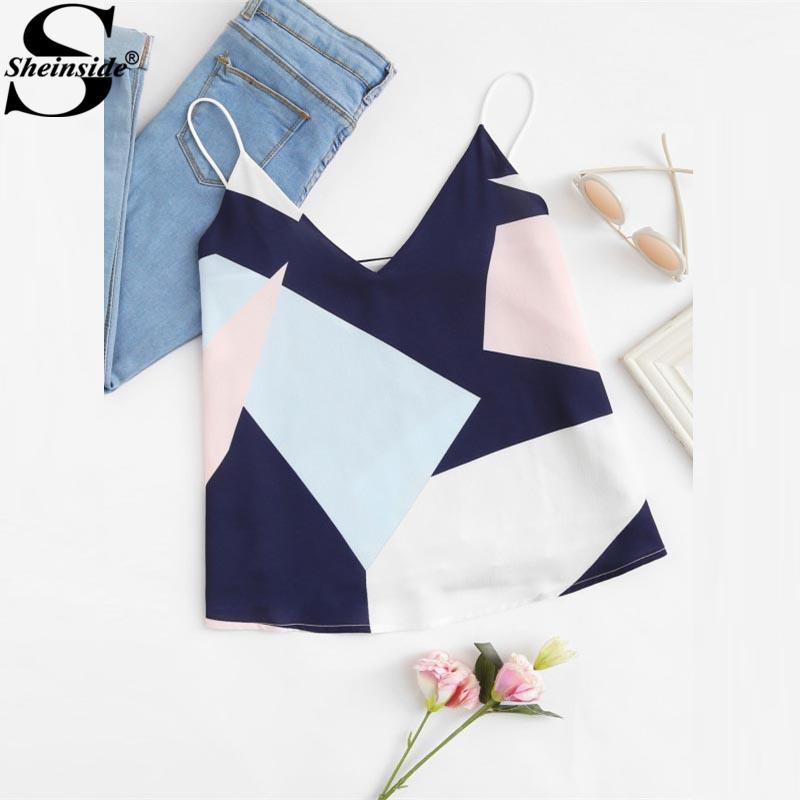 [해외]Sheinside 2017 기하학 인쇄 캐미 조끼 숙녀 V 넥 스파게티 스트랩 캐주얼 여름 조끼 Women Vacation Vest Top/Sheinside 2017 Mixed Geometric Print Cami Vest Ladies V Neck Spaghet