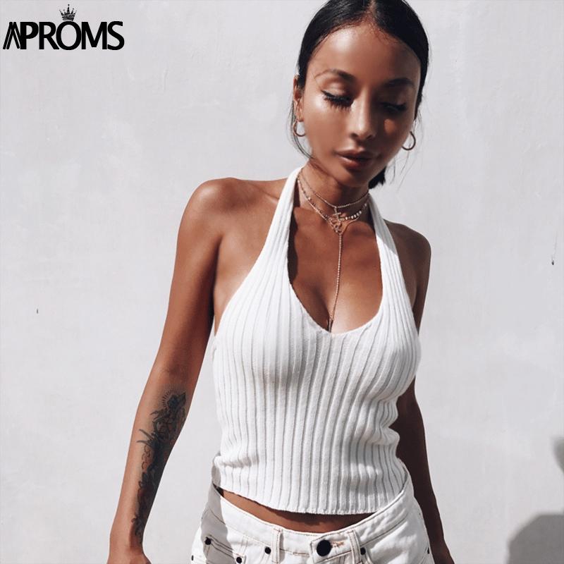 [해외]Aproms 흰색 고삐 니트 낮은 다시 탱크 탑 여름 깊은 V 목 Streetwear 패션 2017 90s 여성 기본 의류 쿨 기본 탑스/Aproms White Halter Knitted Low Back Tank Top Summer Deep V Neck Stre