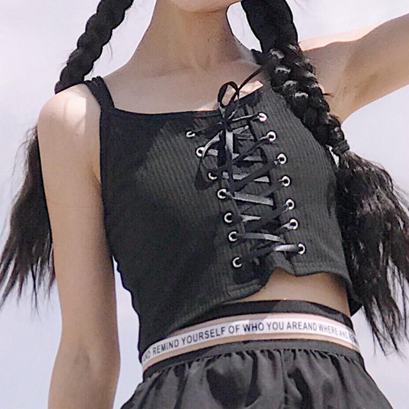 [해외]여성 펑크 레이스 업 넥타이 Strappy 캐미솔 탱크 탑 베스트 니트 코튼 블렌드 로리타 펑크 스파게티 캠퍼스 스타일 뉴 크롭 탑스/Women Punk Lace Up Tie Strappy Camisole Tank Top Vest Knitted Cotton Bl