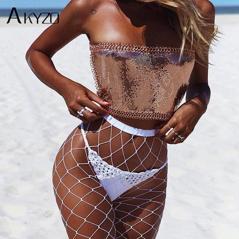 [해외]AKYZO 2017 섹시한 합금 금속 자르기 탑 비치 피트니스 여성 여름 캐니스 스팽글 조절 가능한 은색 체인 고삐 탱크 탑스 원 사이즈/AKYZO 2017 Sexy Alloy Metal Crop Top Beach Fitness Women Summer Camis