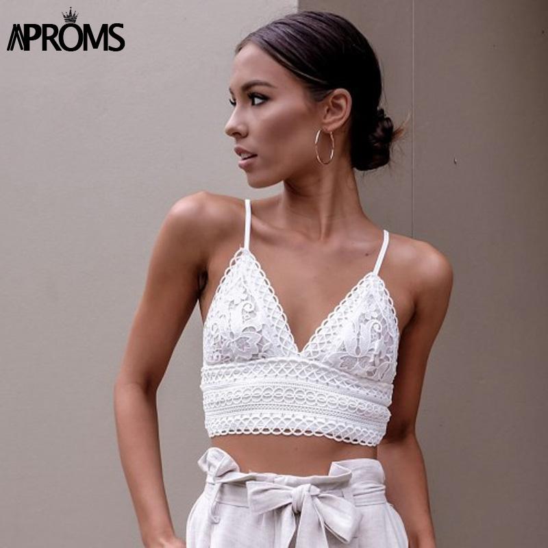 [해외]Aproms 흰색 레이스 크로 셰 뜨개질 캐미솔 캐미 여성 여름 무사 한 활 탑 탱크 탑 여성 Streetwear 패션 2018 핑크 작물 톱/Aproms White Lace Crochet Camisole Cami Women Summer Backless Bow