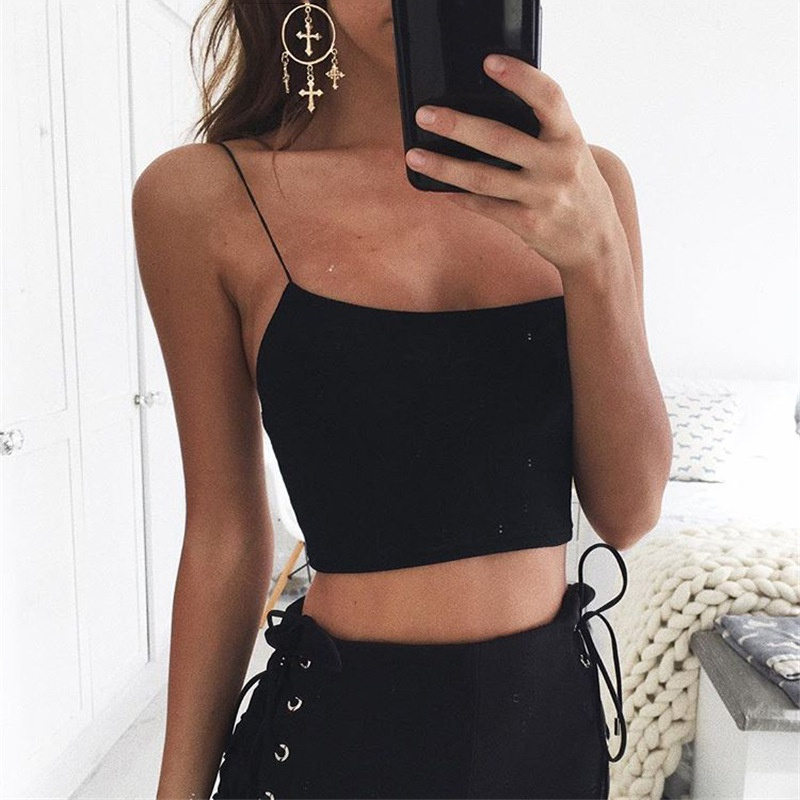 [해외]섹시한 여름 여성 캐주얼 솔리드 캐주얼 화이트 블랙 비스켓 스파게티 스트랩 크롭 탑 7644/Sexy Summer Women Sleeveless Straps  Camis Solid Casual White Black Bustier Spaghetti Strap Cr