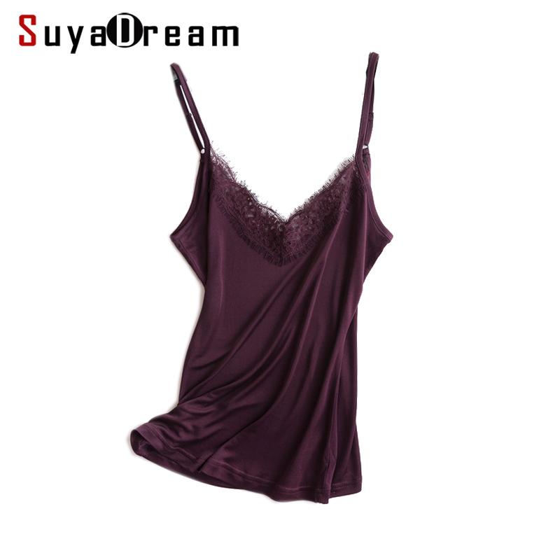 [해외]여성 실크 캐미 100 % 천연 실크와 레이스 캐미솔 바지 셔츠 블랙 퍼플 화이트 2018 뉴 여름 TOP/Women silk camis 100% Natural silk and lace camisoles Bottoming shirt Black Purple Whi