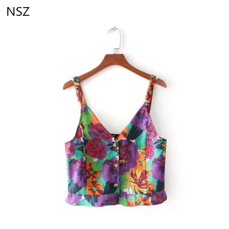 [해외]NSZ Camis Women 딥 브이 넥 고품질 크롭 섹시 탱크 톱 크롭 탑 코튼 리넨 프릴 스트리트웨어 Camisas mujer/NSZ Camis Women Deep v neck High quality Cropped Sexy Tank top crop top C