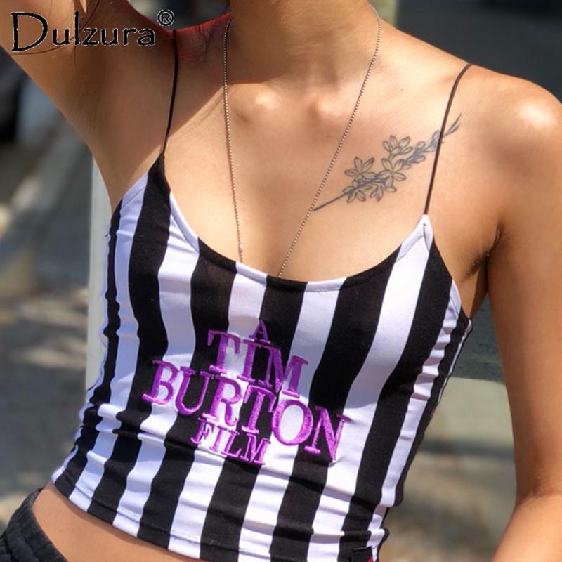 [해외]Dulzura 편지 자수 섹시한 여자 2018 년 여름 Retail없는 여사 스카프 캐미 스트라이프 캐미솔 TIM BURTON/Dulzura letter embroidery women sexy crop top 2018 summer sleeveless skinny