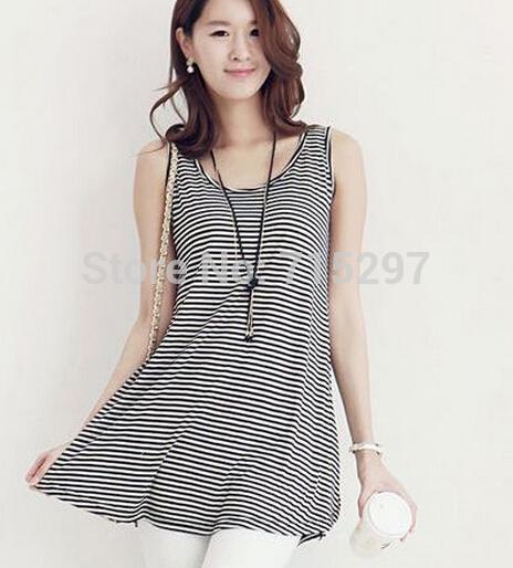 [해외]?2014 패션 여성 빅 사이즈 스트라이프 조끼 민Retail 티셔츠 긴 스트라이프 조끼 조끼 여름 티셔츠 XXXL BUST110/ 2014 fashion women big size striped vest sleeveless t shirt long stripe
