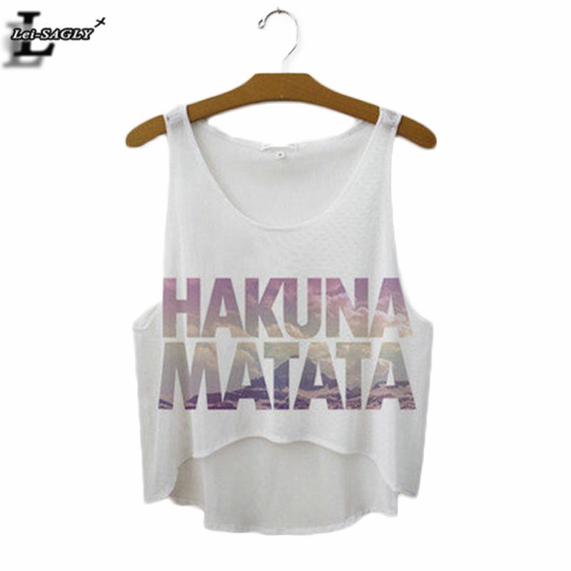 [해외]여름 스타일 & 하쿠나 마타타 및 프린트 탱크 탑 여성 패션 느슨한 흰색 T 셔츠 하라주쿠 참신 캐주얼 운동 자르기 F1037 탑/Summer Style &HAKUNA MATATA& Print Tank Top Women Fashion Loose White