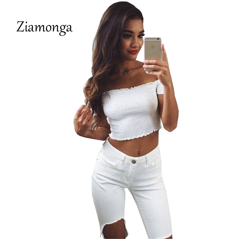 [해외]Ziamonga 여성 패션 여름 해변 어깨 스트랩리스 파티 니트 탱크 Tshirt 탑스 높은 탄력 섹시한 흰색 탑스 탑스/Ziamonga Women Fashion Summer Beach Tops High Elastic Sexy White Off Shoulder
