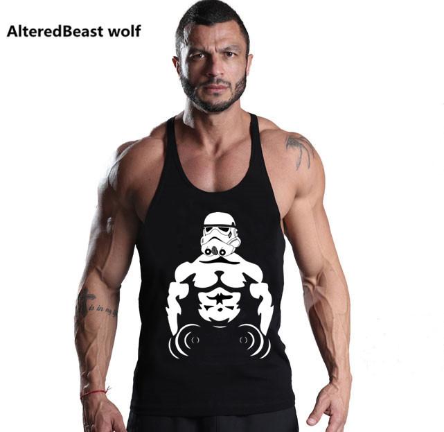 [해외]브랜드 남성 탱크 탑스 보디 빌딩 스타 워즈 탱크 탑 남성용 프린트 탱크 탑 남성 운동 용 스포츠웨어 언더 셔츠/Brand Men tank tops Bodybuilding Star wars print tank top men Fitness Cotton O-neck