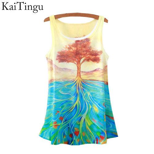 [해외]KaiTingu 2015 새로운 패션 빈티지 봄 여름 여성 Retail 민Retail 인쇄 된 나무 인쇄 된 T 셔츠 티 블라우스 조끼 탱크 탑/KaiTingu 2015 New Fashion Vintage Spring Summer Women Sleeveless