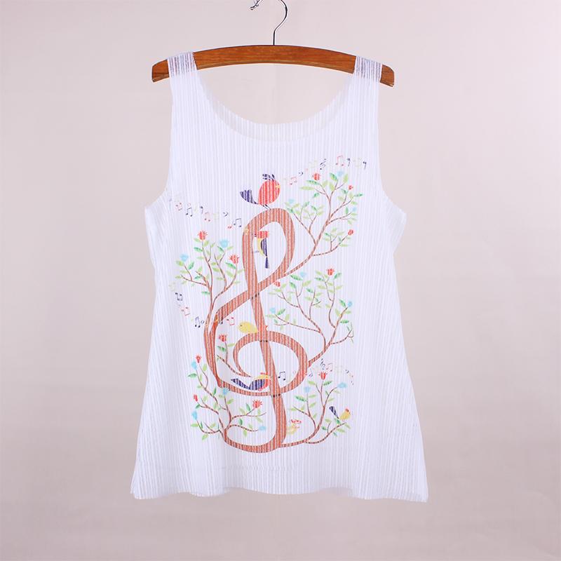 [해외]참신 음악 나무 인쇄 여성 및 탱크 2016 새로운 디자이너 소녀 민Retail 여름 드레스 투명 패브릭 레이디 인쇄 탑 티셔츠/Novelty music tree print women&s tanks 2016 new designer girl sleeveless s