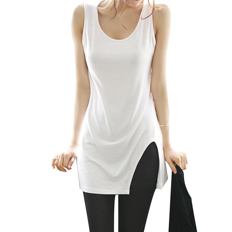 [해외]S - XL 2017 새로운 봄 여름 코튼 패션 여성 & s 의류 긴 단락 단어 조끼 분할 티셔츠 여성 드레스 셔츠/S-XL 2017 new spring summer Cotton Fashion women&s clothing Long paragraph th