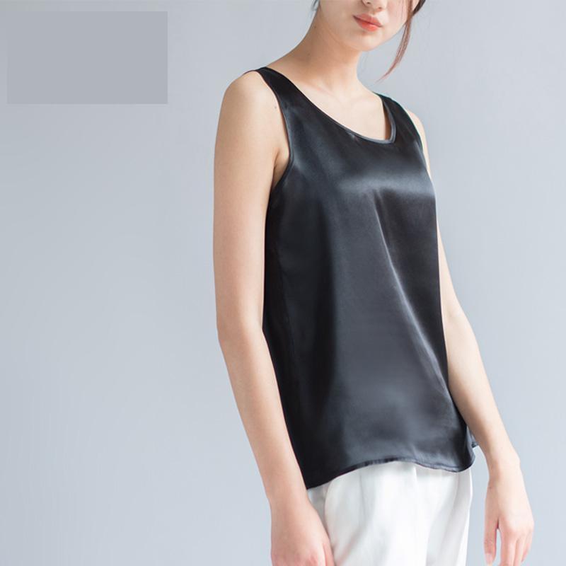 [해외]여성 여름 솔리드 플러스 사이즈 100 % 실크 100 % 실크 티셔츠 숙녀 실크 탱크 스트레이트 여성 100 % 실크 느슨한 탑스 hedging 블라우스 여자/Female  Summer solid Plus Size 100% silk Blouse woman he
