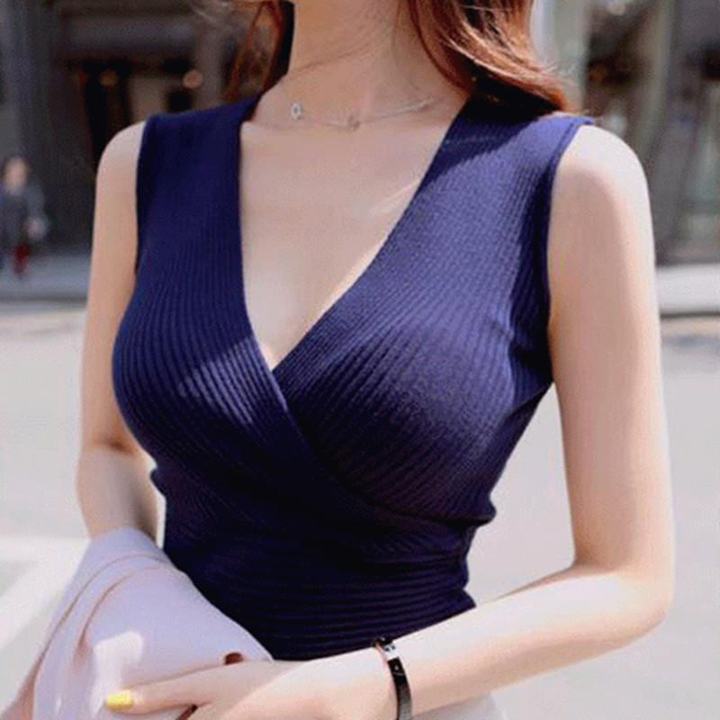 [해외]탱크 탑 vetement 여성 16 색상 패션 조끼 캐주얼 민Retail 섹시 V - 목 여성 여름 한국 니트 코튼 여성 의류/Tank Top vetement femme 16 Colors Fashion Vest Casual Sleeveless Sexy V-Nec