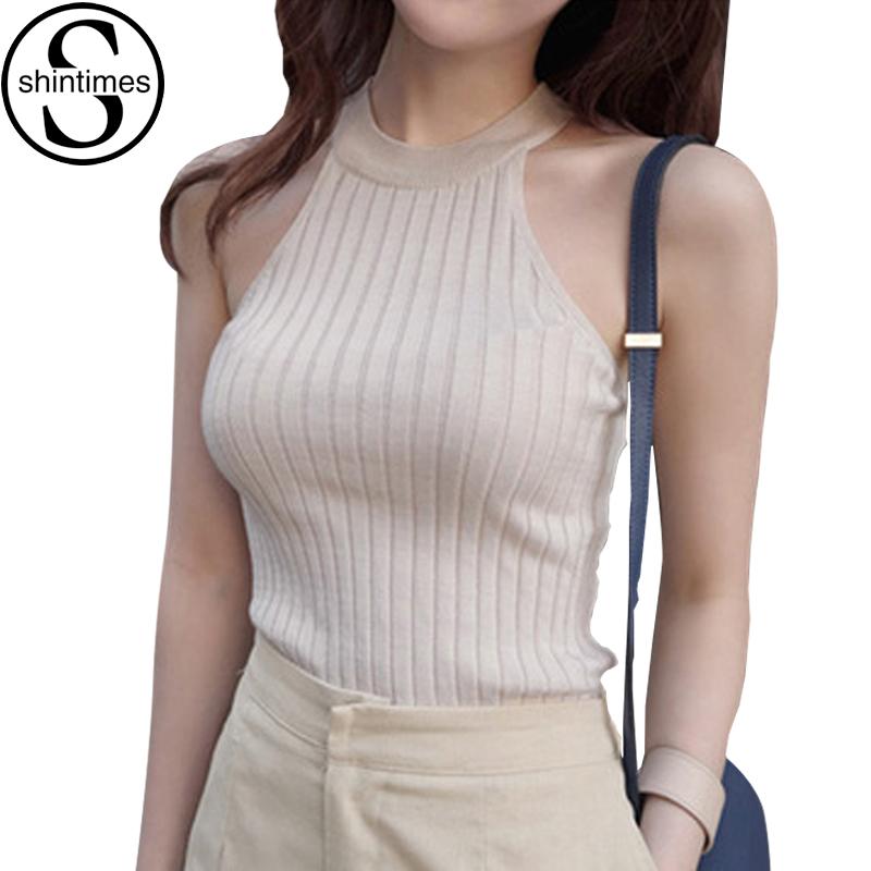[해외]Debardeur Femme Camisas Mujer 자르기 탑 여성 2018 여름 헐 터 숄더 탱크 탑 Femme 니트 면화 탑과 블라우스/Debardeur Femme Camisas Mujer Crop Top Women 2018 Summer Halter Sho