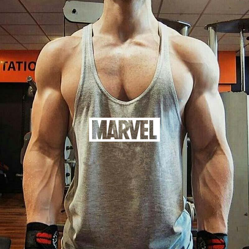 [해외]?YUANHUIJIA 남자 & 마블 보디 빌딩 운동복 조끼 줄무늬 운동복 언더 셔츠 리프팅 민Retail 셔츠 탱크 탑스/ YUANHUIJIA men&s Marvel Bodybuilding Fitness Workout Vest Stringer Sports