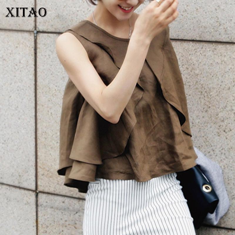 [해외][XITAO] 2018 여름 한국 패션 여성 솔리드 컬러 민Retail 속이 빈 탑 여성 O - 넥 풀오버 탱크 KZH494/[XITAO] New Arrival 2018 Summer Korea Fashion Women Solid Color Sleeveless H