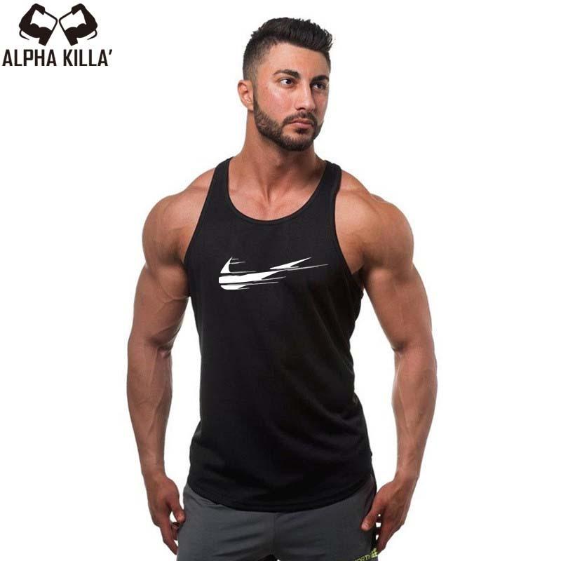 [해외]?2018 최신 디자인면 재밌는 탱크 조끼 O-neck 조끼 남자 패션 브랜드 로고 프린트 탱크 탑 캐주얼 남자 & s 탱크 탑스/ 2018 Newest design Cotton Funny Tank vest O-Neck vest Men Fashion br