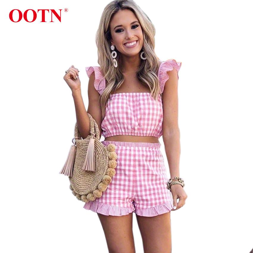 [해외]OOTN 핑크색 격자 무늬 2 점 세트 여름 여성 프릴 민Retail 탱크 탑스 & amp; 반바지 세트 2018 여성 깅엄 캐주얼 두 조각 정장/OOTN Pink Plaid 2 Piece Sets Summer Women Ruffle Sleeveless