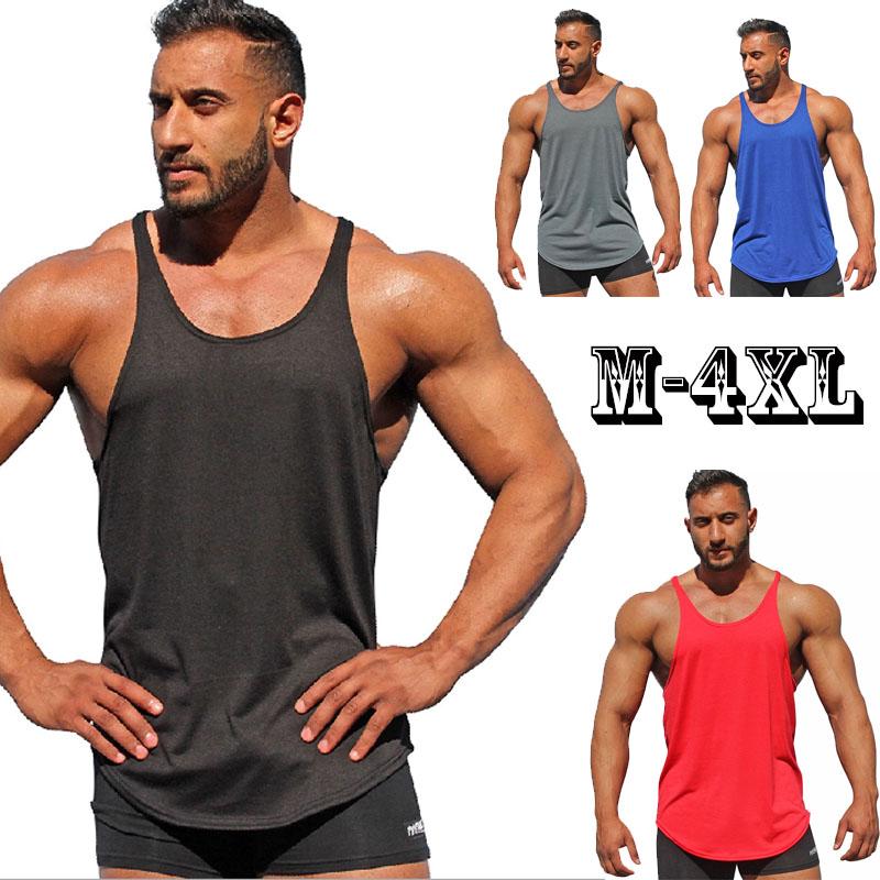[해외]여름 새 탱크 탑 남성 2018 브랜드 남성 솔리드 컬러 민Retail 조끼 의류 보디 빌딩 탑 탱크 남성 저지 플러스 사이즈 M-4XL/Summer New Tank Top Men 2018 Brand Male  Solid Color Sleeveless Vest