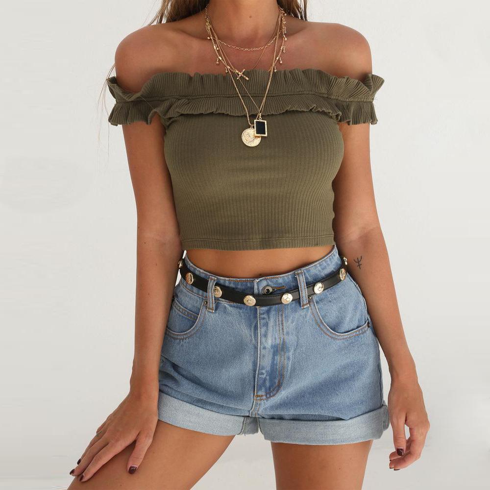 [해외]형편없는 섹시한 여름 어깨 유행 연꽃  숙녀 & 탱크 탑스/Lousy sexy summer shoulders fashionable lotus wrinkles ladies&  tanks tops