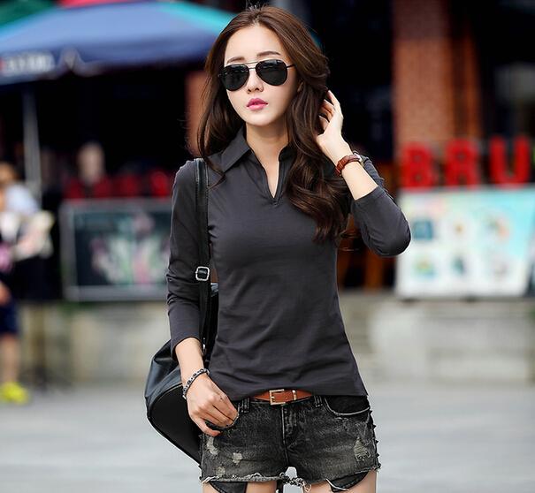 [해외]여성 긴 Retail 폴로 셔츠 일반 검은 색 폴로 셔츠 라프 여성 폴로 만화 larga 그래 mujer lacote 폴로 blusa feminino (6)/women long sleeve polo shirts plain black polo shirt raph