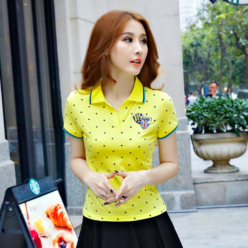 [해외]여성 여름 폴카 도트 프린트 폴로 셔츠면 폴로 femmes 라프 폴로 팜므 골프 셔츠 poloshirts의 camisa 여성 달콤한 꼭대기 아가씨/Women Summer Polka Dot Print Polo shirt cotton polo femmes raph