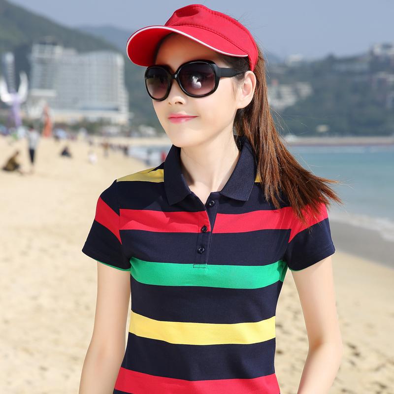 [해외]여성 레이디 스트라이프 폴로 셔츠의 라프는 poloshirts 폴로 셔츠 camisa 코튼 스트라이프 폴로 femmes 골프 셔츠 플러스 사이즈 최고를 데이먼 아가씨/Women Lady Striped poloshirt raph dames poloshirts da